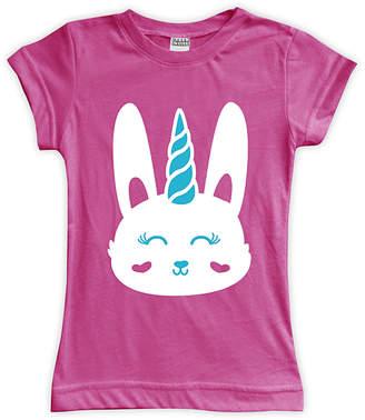 Urban Smalls Girls' Tee Shirts Fuchsia - Fuchsia Unicorn Bunny Fitted Tee - Toddler & Girls