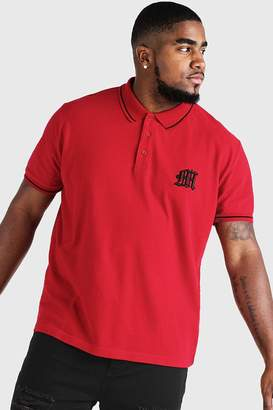 boohoo Big & Tall Polo With 3D Embroidered M