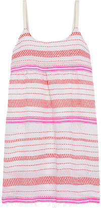 Lemlem Tiki Tiered Embroidered Cotton-blend Gauze Mini Dress