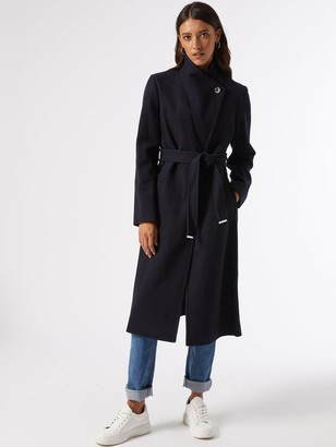 Dorothy Perkins Glossy Funnel Collar Belted Coat -Navy