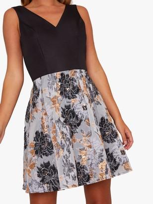 Chi Chi London Inaya Jacquard Pleated Midi Dress, Black
