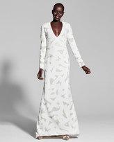 J. Mendel Beaded Long-Sleeve V-Neck Gown, Multi