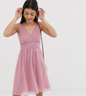 Vero Moda Petite ruche detail dress-Pink