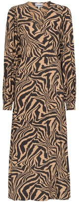 Ganni Zebra Print Midi Wrap Dress