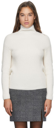 Nina Ricci White Wool Rib Knit Turtleneck