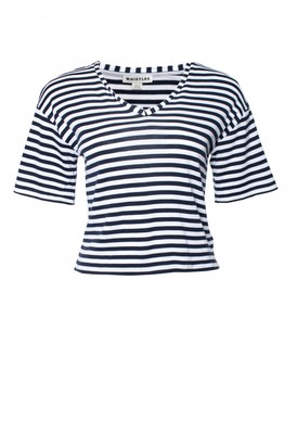Whistles Navy Cotton Top for Women