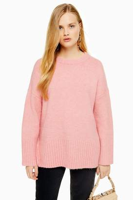 Topshop Womens Knitted Oversized Long Line Jumper - Pink