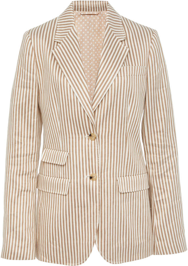 Tory Burch Striped Linen Blazer