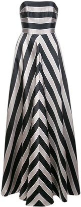 Halston Striped Strapless Gown