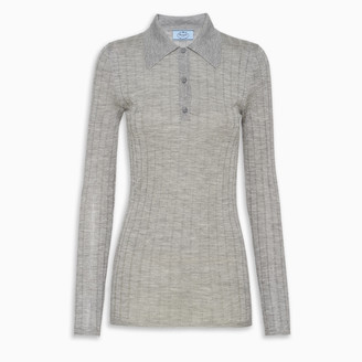 Prada Blue cashmere and silk polo shirt