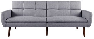 "George Oliver Gourley 71.6"" Wide Round Arm Convertible Sofa Fabric: Gray Polyester"