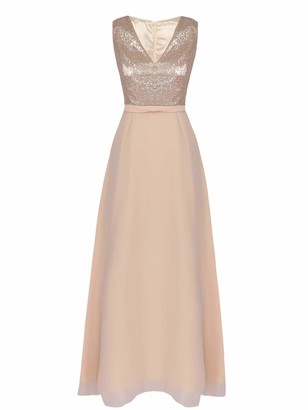 CHICTRY Women's Floor Length Patchwork Dress Sequins Wedding Bridesmiad Dresses A1 Navy Blue 8