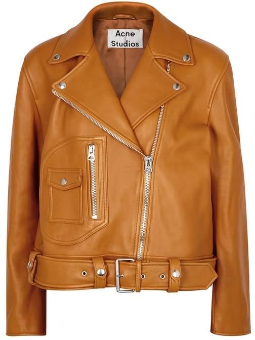 Acne Studios Boxy Mustard Leather Biker Jacket