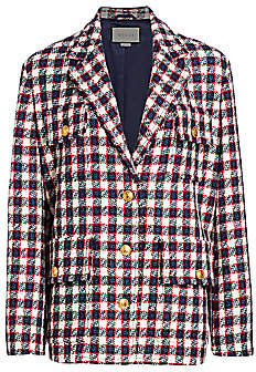 Gucci Women's Lightweight Tweed Plaid Swing Jacket