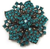 Avalaya Victorian Corsage Flower Brooch (Antique & Teal)