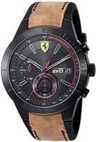 Ferrari Scuderia Men's 'RED REV EVO CHRONO' Quartz Resin and Leather Casual Watch, Color:Brown (Model: 0830398)