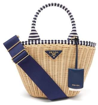 Prada Wicker And Canvas Basket Bag - Womens - Blue Multi