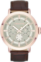 Claiborne Mens Rose-Tone Leather Strap Multifunction Watch