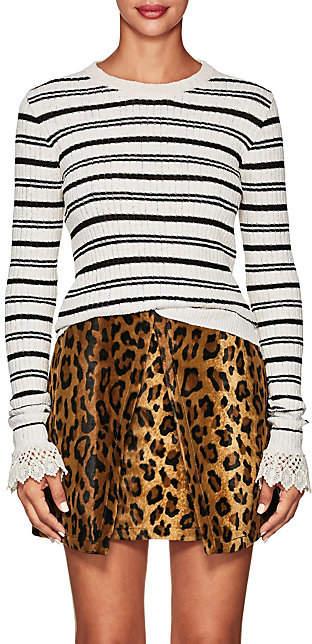 Philosophy di Lorenzo Serafini Women's Crochet Striped Cotton-Blend Sweater