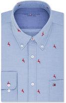 Tommy Hilfiger Men's Slim-Fit Comfort Wash Untucked Light Blue Solid Embroidered Dress Shirt