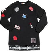 MSGM Cotton Sweatshirt Dress With Patches