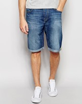 Lee Denim Shorts 5 Pocket Straight Fit in Blue Collective Mid Wash