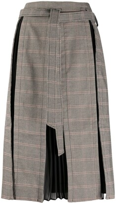 Rokh Check Pleated Skirt