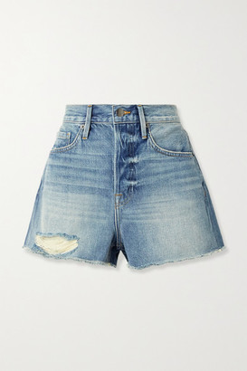 Frame Le Heritage Vintage Distressed Denim Shorts - Mid denim