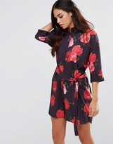 Oh My Love Tie Waist Shirt Dress