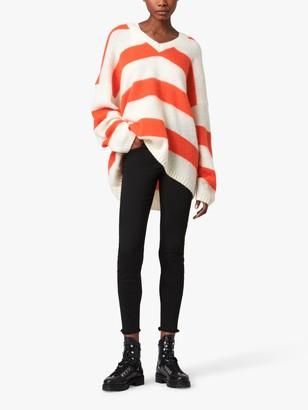 AllSaints Lou Striped V-Neck Raglan Sleeved Jumper, White/Flame Red