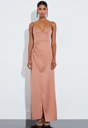 Missguided Nude Satin Split Leg Pleated Maxi Dress