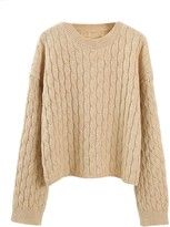 Goodnight Macaroon 'Kenzy' Cable Knit Crewneck Sweater (4 Colors)