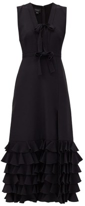 Giambattista Valli Bow-trim Ruffled Crepe Midi Dress - Black