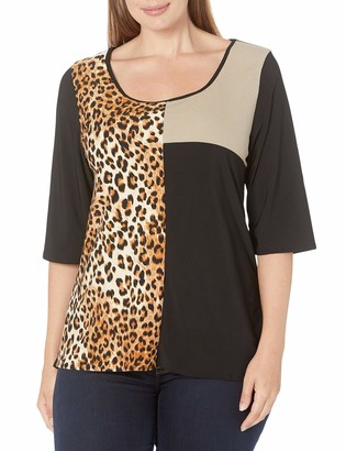 Star Vixen Women's Plus-Size 3/4 Sleeve Scoop Neck Tri Colorblock Tunic-Length Ity Top with Inset