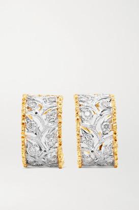 Buccellati Ramage 18-karat White And Yellow Gold Diamond Hoop Earrings