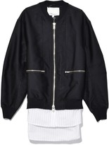3.1 Phillip Lim Bomber with Cardigan Ribs in Black