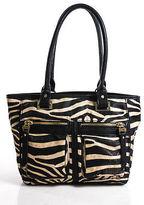 Nicole Miller Beige Zebra Print Exposed Zip Detail Shoulder Handbag Size Small