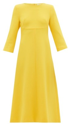 Goat Happy Wool-crepe A-line Midi Dress - Womens - Yellow