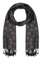 Quiz Black And Silver Leopard Print Shimmer Scarf