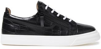 Giuseppe Zanotti London Zip-detailed Croc-effect Leather Sneakers
