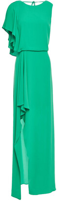 Halston Draped Crepe De Chine Gown
