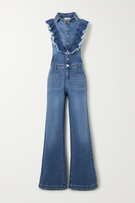 RED Valentino Ruffled Stretch-denim Jumpsuit - Mid denim