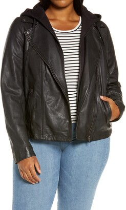 Caslon Hooded Leather Moto Jacket