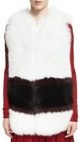 Derek Lam Graphic-Stripe Fox Fur Vest