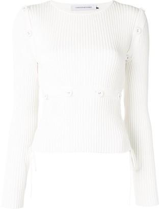 CHRISTOPHER ESBER Button-Embellished Ribbed Knit Top