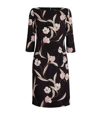St. John Floral Cropped Sleeve Dress