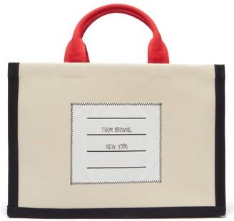 Thom Browne Logo-label Cotton-canvas Tote - Beige