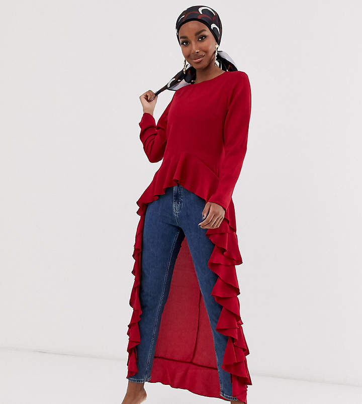 Verona long sleeve top with frill hem