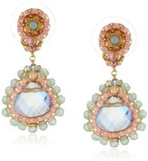 Miguel Ases Rainbow Hydro-Quartz and Jade Small Teardrop Earrings