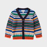 Paul Smith Baby Boys' Striped Cotton-Cashmere Zebra Logo Cardigan